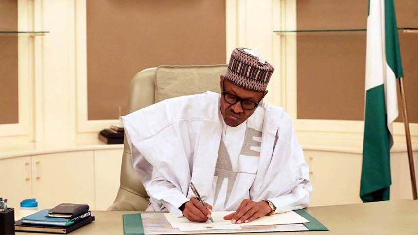 Buhari busy in the office
