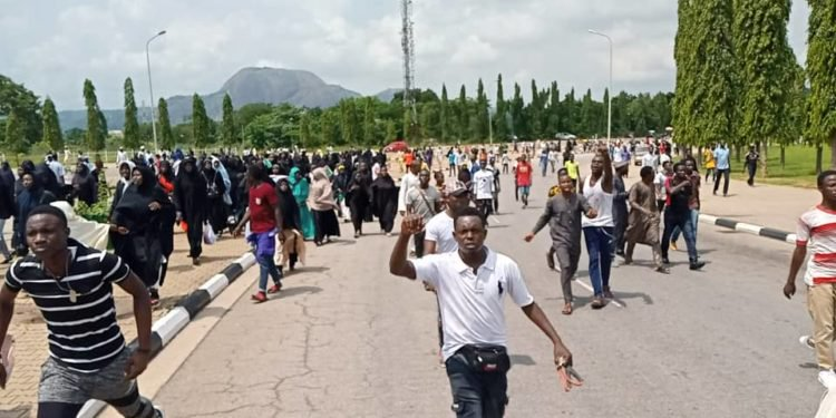 shiites protesters being dispersed by police during protests at Abuja